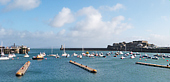 Guernsey : St Peter Port harbour and Castle Cornet